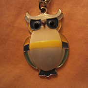SALE Mid Century Enameled Wise Owl Pendant