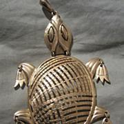 SALE Fabulous Signed Articulated TURTLE Pendant