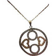 SALE Vintage Sterling Marcasite Hearts & Circles Pendant on Sterling Chain