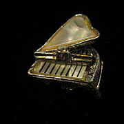 SALE Vintage Mother of Pearl Baby Grand Piano Pin