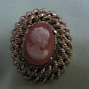 SALE Vintage Gerry's Cameo Pin/Brooch signed