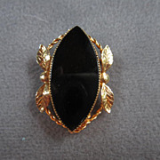 """SALE Signed """"Catamore"""" Classic Onyx Gold filled Pin with Garland"""