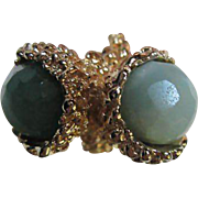 SALE Gorgeous Bypass Ring fully Faceted Round Glass stones size 6-7 adjustable
