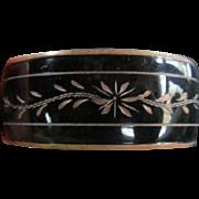 SALE Victorian Mourning Jewelry Enamel Engraved Bangle Bracelet