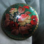 SALE SIGNED  Hand Painted Lacquer Pin from Russia Christmas colors!