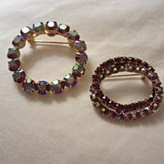 SALE 2 Wonderful Classic Swarovski Aurora Borealis AB Crystal Pins Round & Double Oval ...