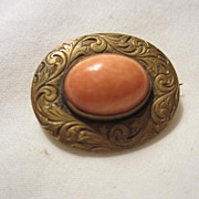 SALE Victorian Doll Coral colored Pin or Lingerie Pin