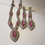 SALE Dazzling Princess Pink Demi Necklace and Earrings