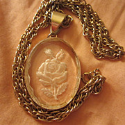 """SALE Beautiful Reverse Carved Rose Pendant 24"""" chain"""