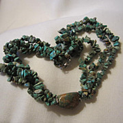 SALE Three Strand Natural Turquoise Necklace with Large Natural Turquoise Stone Centerpiece