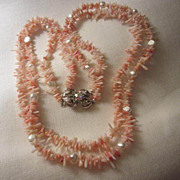 Fabulous Angel Skin Coral & Genuine Pearls Double Strand