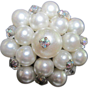 SALE Wired AB Crystals on Pearl (faux) Pin/Brooch