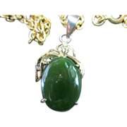 "SALE Beautiful Oval Jade Pendant on 20"" chain"