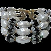 SALE Deauville Demi Set Stunning Black and White Triple Bracelet & Matching Earrings Demi Set
