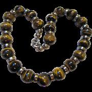 SALE Substantial VintageTiger Eye Sterling Silver Necklace