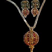 SALE Enamel Christmas Ornament Necklace & Earrings Set Demi Parure