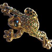 SALE Wonderful Monet Frog Crystal Encrusted Figural Pin
