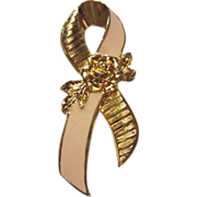 SALE Pink Ribbon Breast Cancer Awareness Pin signed Avon