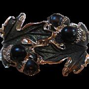 SALE Unusual Acorn & Leaf Enamel Clamper Bracelet
