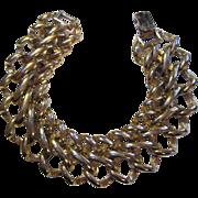SALE Bold Double Chain Bracelet signed Monet