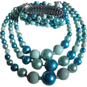 SALE Fabulous Cha Cha Bracelet & 3 Strand Electric Blue Necklace Set