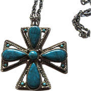 SALE Maltese Cross faux Turquoise Necklace