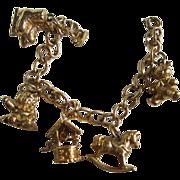 SALE Sweet Vintage Charm Bracelet signed 5 Wonderful Charms