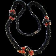 SALE Great Pretender! Onyx & Coral (faux) Necklace
