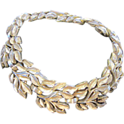 SALE Crown Trifari Vintage Gold tone Leaf Bracelet