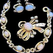 SALE Vintage Van Dell Parure Fiery Dragons Breath faux Opal Bracelet, Pin/Pendant, Earrings Pa