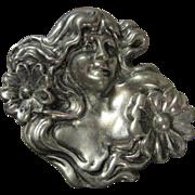 SALE Huge Pewter Art Nouveau Style Pin 1990 Artist Signed
