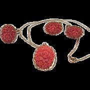 SALE Coral Celluloid Flowers Set/Parure Pendant, Earrings & Ring