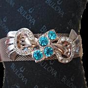 SALE Beautiful Retro Aquamarine Mesh Bracelet