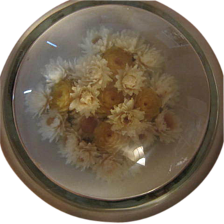 SALE Victorian Dried Flowers Glass Paperweight