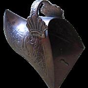 SALE Unique Hand Etched Brass Match Holder