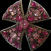 Regency signed Raspberry Maltese Cross Brooch/Pin