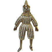 Christian Dior Figural by Henkel and Grosse Golden White Faced Circus Clown Pin