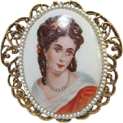 SALE Limoges Portrait Victorian Revival Pin/Pendant