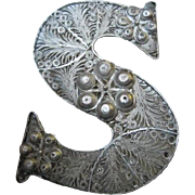 Intricate & Stunning Sterling Silver Letter S Handmade Filagree Pin