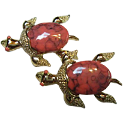 SALE Gerry's signed Coral colored Turtle Scatter Pins