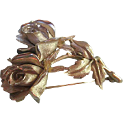 Boucher Exquisite Double Rose Pin signed & numbered