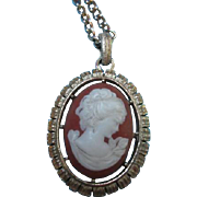 SALE Double sided Cameo Pendant on Chain