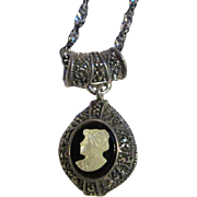 SALE Fabulous & Unique Double sided Sterling Silver Marcasite Pendant and Mother of Pearl Came