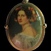 SALE Lovely Portrait Pendant on  Porcelain Unique Frame