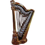 Gorgeous Swarovski Gold Plated Harp Brooch/Pin Signed