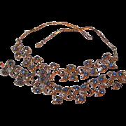SALE Beautiful Cornflower Blue  Necklace and Bracelet Demi Parure Great Design