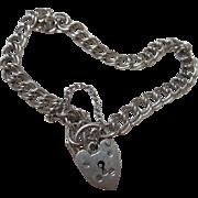 Birmingham Hallmarked Sterling Double Link Heart Padlock Clasp Bracelet