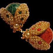 Hattie Carnegie Pair of Lady Bug Pins