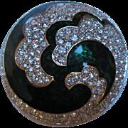 Gorgeous Swarovski Brilliant Emerald Green Enameled Domed Pin/Brooch