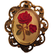 SALE Gorgeous Vintage Red Roses Pin/Brooch and Pendant